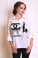 Актуальная белая блуза из креп-шифона  с  модным рисунком