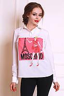 Легкая летняя блуза  прямого фасона с ярким рисунком