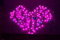 """Светодиодная гирлянда штора (бахрома) """"Розовое сердце из бабочек"""""""