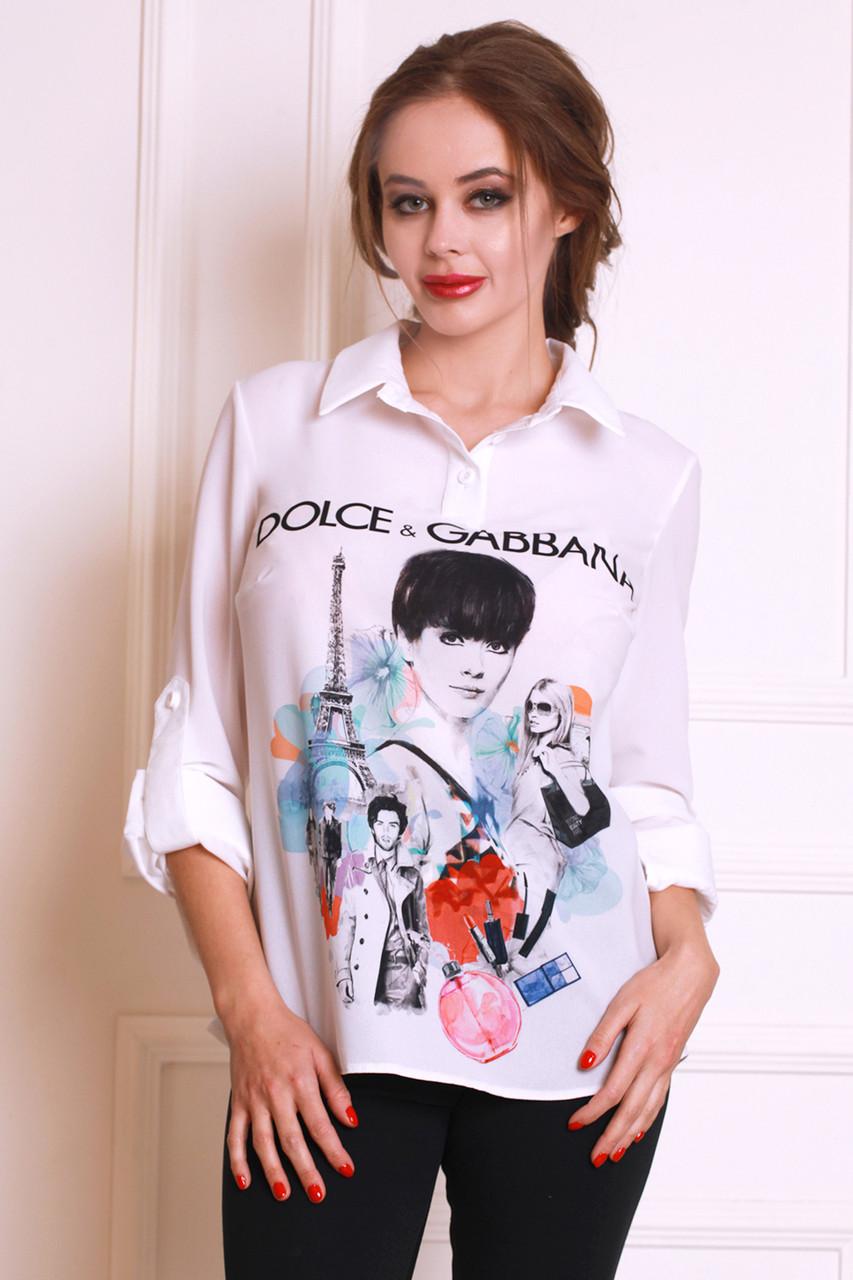 8044c6f85e3 Модная молодежная блуза в белом цвете с оригинальным рисунком -  Оптово-розничный магазин одежды