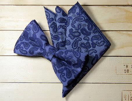 Набор I&M Craft Галстук-бабочка + платок в пиджак синий (011117), фото 2