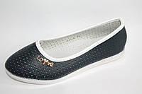 Детские туфли на девочек с перфорацией от производителя Yalike 511-6 темно - синий (8пар, 30-37)