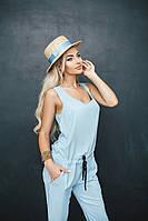 Женский легкий голубой комбинезон на шнуровке. Ткань штапель. Размер см, мл.