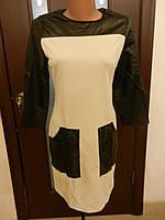 Туника-платье черно- бежевое клубное