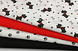 """Ткань хлопковая """"Собачки с красными ошейниками"""" № 549а, фото 7"""