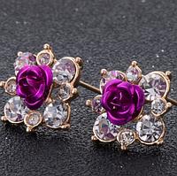 Серёжки розы сиреневые арт. 0010