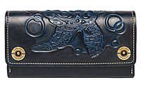 Кожаный кошелек ручной работы с тиснением Черепаха Gato Negro Alfa Big Turtle Blue