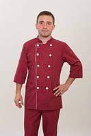 Бордовый мужской костюм шеф-повара с воротником стойка