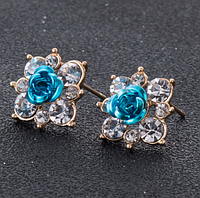 Серёжки розы голубые арт. 0010