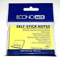 Блок для заметок с клейким слоем, 75х50 мм, 100 шт. Economix