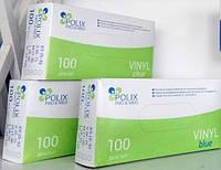 Перчатки виниловые, неопудренные Polix Pro&Med, прозрачные, голубые  (50пар/упак)