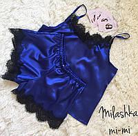 Шелковая пижама маечка шорты с кружевом синяя, фото 1