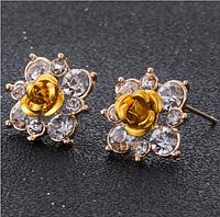 Серёжки розы жёлтые арт. 0010