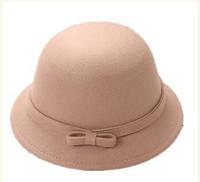 Стильная женская натуральная фетровая шляпа клош бежевого цвета