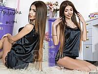 Шелковая пижама с кружевом чёрная