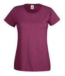 Женская футболка однотонная бордовая 372-41