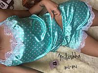 Шелковая пижама с кружевом ментоловая, фото 1