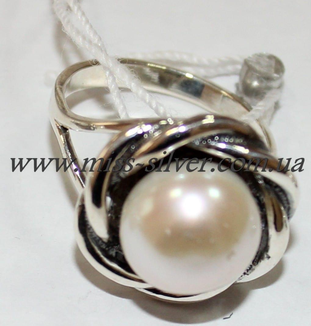 Кольцо белый жемчуг Веночек