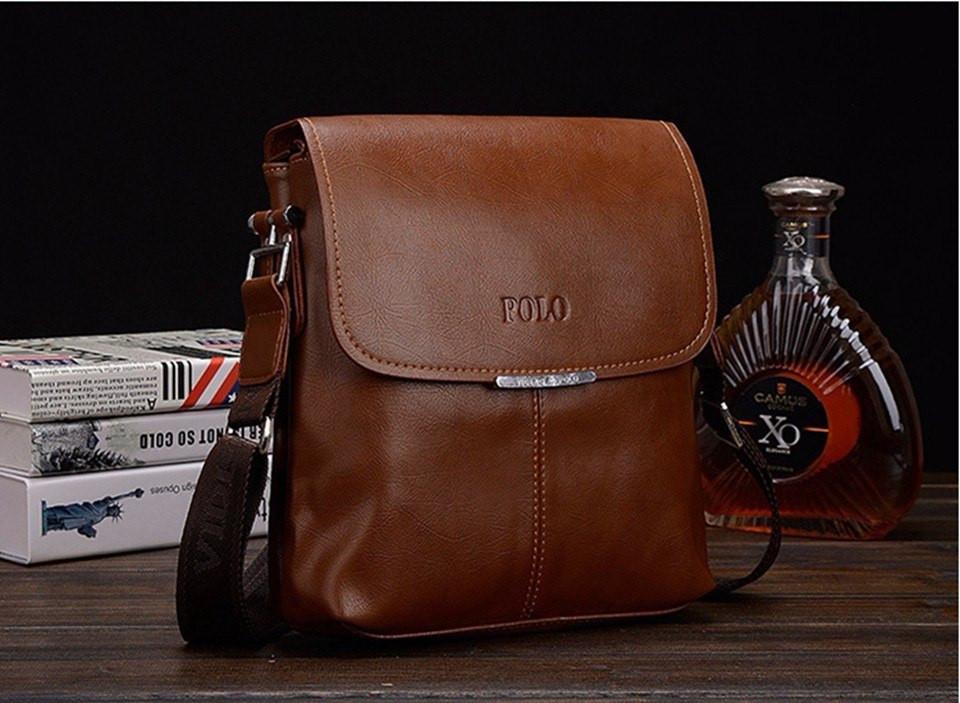 """Мужская кожаная  сумка  Polo коричневая  размер """"S"""""""
