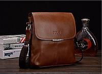 "Мужская кожаная  сумка  Polo коричневая  размер ""S"", фото 1"
