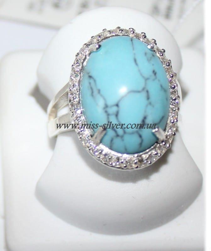 Кольцо с бирюзой из серебра Раиса