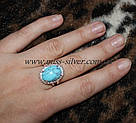 Кольцо с бирюзой из серебра Раиса, фото 2