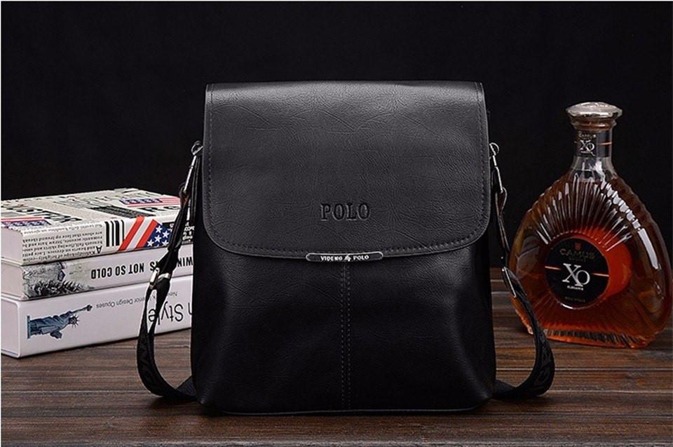 """Мужская сумка-планшетка Polo черная кожаная  размер """"S"""""""
