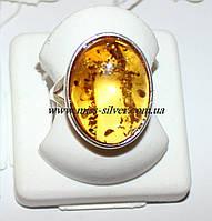 Кольцо с янтарем из серебра Сицилия