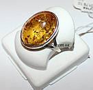Кольцо серебряное с натуральным янтарем Сицилия, фото 2