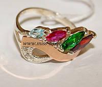Кольцо серебряное с цветными фианитами и золотом Горный хрусталь