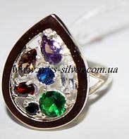 Кольцо серебряное с цветными фиантами и золотом Мозаика самоцветов