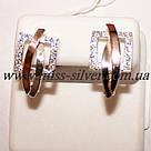 Серьги серебряные с белыми фианитами и золотом Александра, фото 2