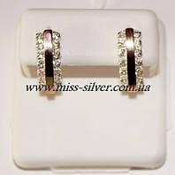 Серьги серебряные с белыми фианитами и золотом Роззи