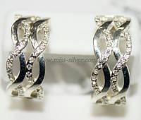Серьги серебряные с белыми фианитами Снежанна