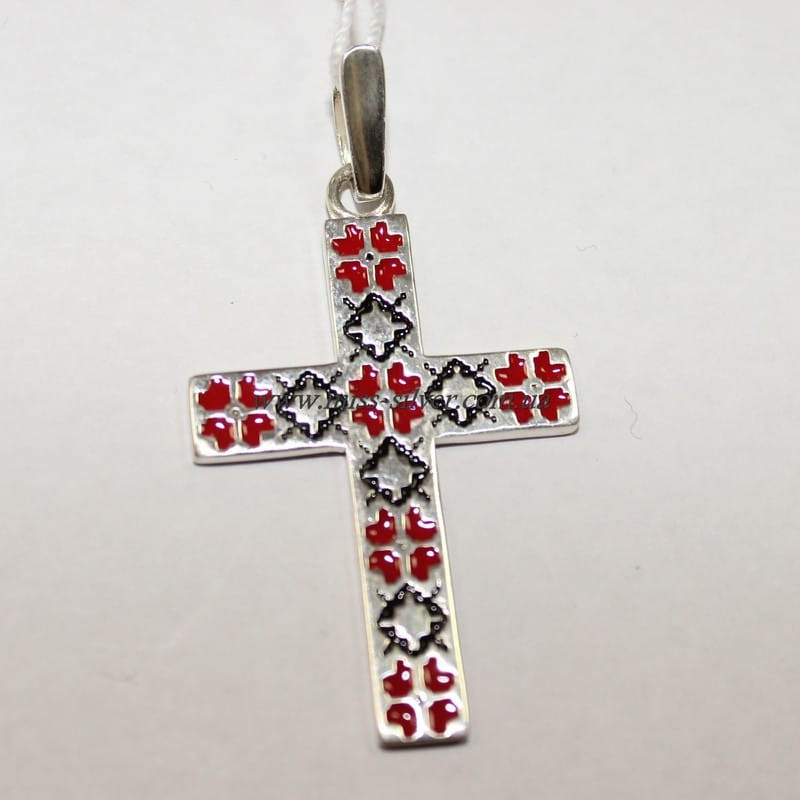 Крест серебряный Вышиванка