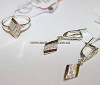 Комплект серебряный с белыми фианитами и золотом Мираж