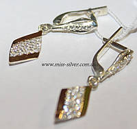 Серьги серебряные с белыми фианитами и золотом Мираж