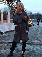 Женское модное пальто с вышивкой