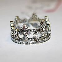 Кольцо серебряное с фианитами Корона - 1