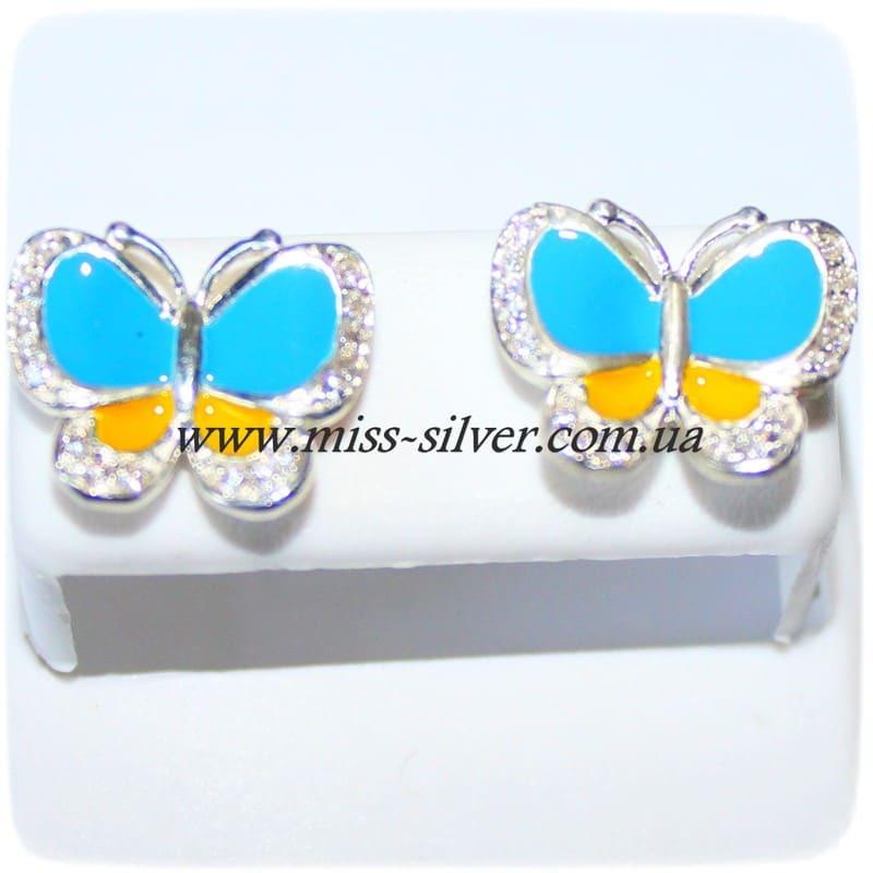 Серьги гвоздики Бабочки с желто-голубой эмалью