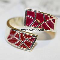 Серебряное кольцо с эмалью и цирконами Фантазия