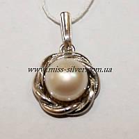 Кулон с жемчугом серебро Веночек