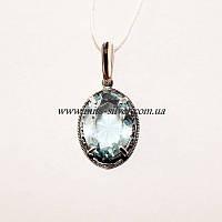 Серебряный кулон с голубым камнем Агата