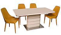 Стол обеденный раскладной ТМ-52-1 бежевого цвета, столешница МДФ покрытый каленым стеклом 120-160х80х76Н