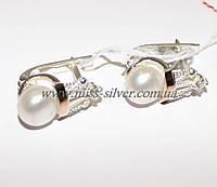 Серьги с жемчугом (серебро + золото) Царевна