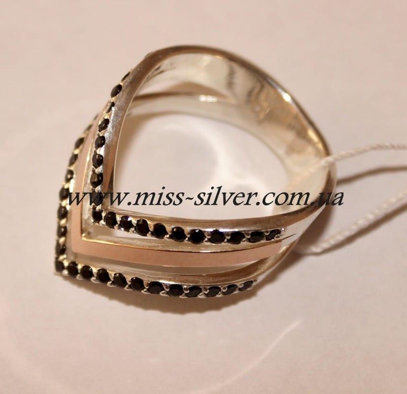 Кольцо серебро с черными цирконами Фрезия