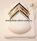 Кольцо серебро с черными цирконами Фрезия, фото 4