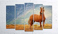 """Модульная картина на полотне """"Рыжий конь"""""""