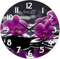 """Часы настенные """"Орхидея"""" Ø28см стеклянные"""