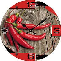 """Часы настенные """"Перец Чили"""" Ø28см стеклянные"""